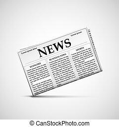 tarde, news., ícone, jornal.