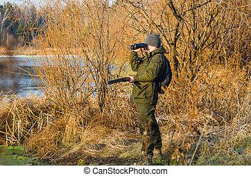 tarde, outono, caça, pato