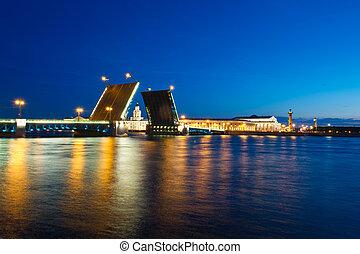 tarde, palacio, st. petersburg, puente, vista