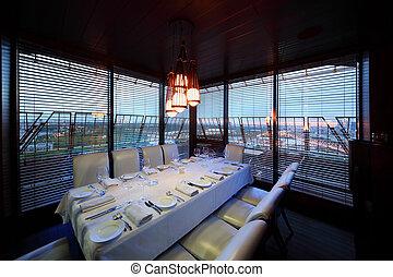 tarde, restaurante, sillas, porción, tabla, blanco, mantel
