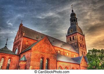 tarde, riga, -, letonia, catedral, vista