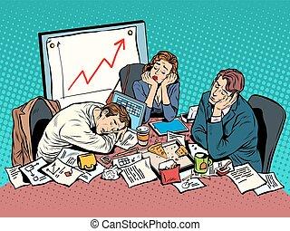 tarde, tarde, concepto, poniendo común, empresa / negocio