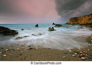 tarde, tormenta, en, crete, greece.