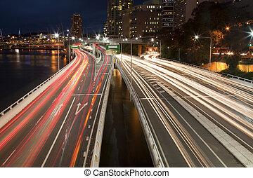 tarde, tráfego, noturna