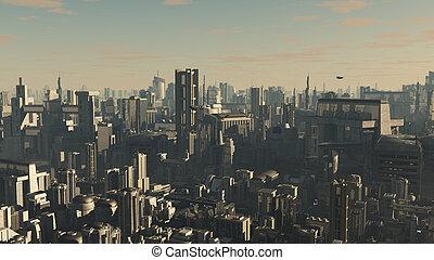 tardi, città, futuro, pomeriggio, luce