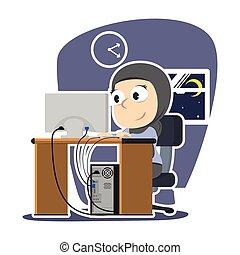 tardi, donna d'affari, arabo, lavorativo, notte