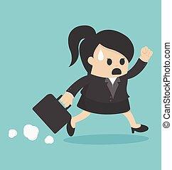 tardi, donna, lavoro, affari