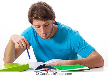 tarea, estudiante, trabajando