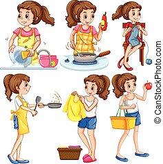 tareas, ama de casa, diferente