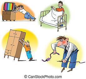 tareas, diferente, casa