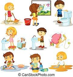 tareas, diferente, niños