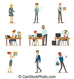 tareas, directores, oficina, trabajando, espacio, empleados...