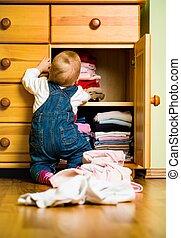 tareas, doméstico, -, bebé, afuera, tiros, ropa