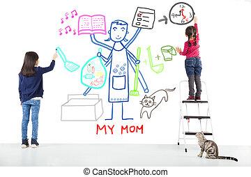 tareas, ella, trabajando, dos, niños, madre, dibujo