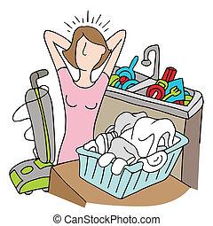 tareas, muchos, mujer