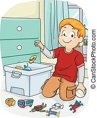 tareas, tienda, niño, niño, juguetes