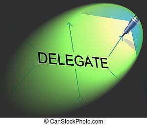 tarefa, assistente, delegação, indica, gerência, delegado