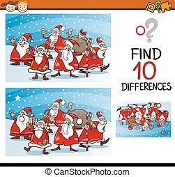 tarefa, diferenças, natal, crianças