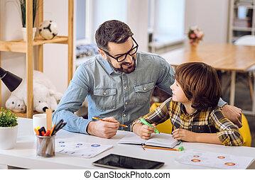 tarefas, bonito, seu, homem, filho