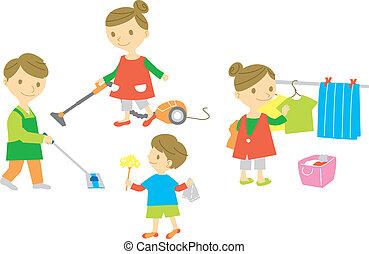 tarefas domésticas, família, lavando