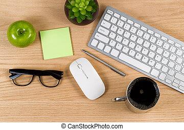 tarefas, madeira, trabalho, carvalho, diariamente, desktop, pronto, vermelho