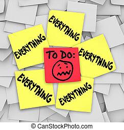 tarefas, notas, lista, pegajoso, tudo, invencíveis