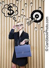 target., スケッチ, 女性の考えること, お金, の上, 印, 見る, 概念, デザイン, 背景, lamps., 泡