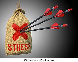 target., ストレス, 衝突, 矢, -, 印, 赤