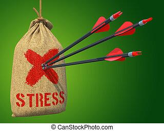 target., ストレス, 衝突, 矢, -, 赤