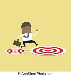 target., ターゲット, 大きい, 跳躍, アフリカ, 小さい, ビジネスマン