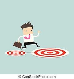 target., ターゲット, 大きい, 跳躍, 小さい, ビジネスマン