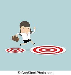 target., ターゲット, 女性実業家, 跳躍, 大きい, 小さい