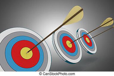 target., 中心, イラスト, 矢, hittings, 3d