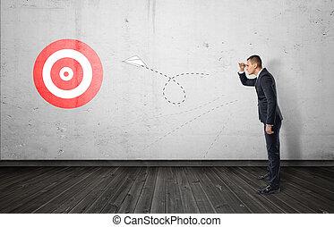 target., 保持, 権利, トラック, 飛行, ペーパー, ビジネスマン, 飛行機