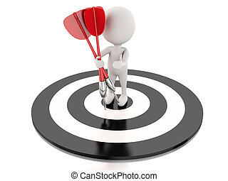 target., 商业, 成功, 人们, 飞奔, 白色, 3d