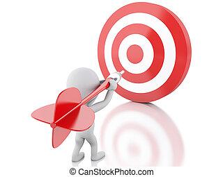 target., 成功, 人々, business., さっと動きなさい, 白, 3d