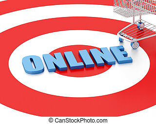 target., 概念, 買い物カート, インターネット商業, 3d