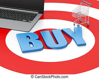 target., 概念, 買い物, pc, ラップトップ, カート, インターネット商業, 3d