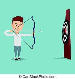 target., 狙いを定める, 矢, ボウマン, 弓