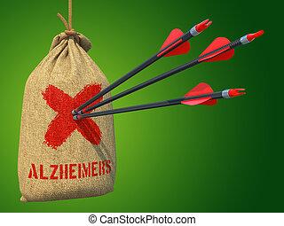 target., 衝突, 矢, -, alzheimers, 印, 赤