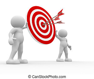 Target - 3d people -human character with target and arrows. ...