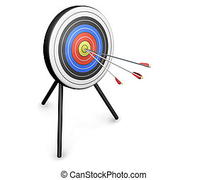 3D render of arrows hitting a target