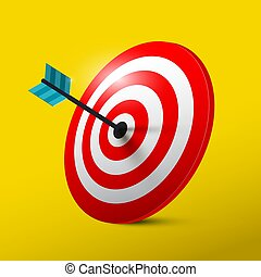Target 3D Symbol with Dart. Vector Dartboard Icon.