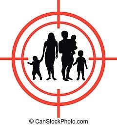 target., aim., crianças, família, sob