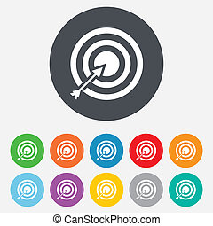 Target aim sign icon. Darts board with arrow symbol. Round colourful 11 buttons. Vector