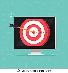 Target aim with arrow in bullseye on computer display vector, concept of success business goal, digital marketing promotion, good online campaign strategy, internet audience targeting, mission