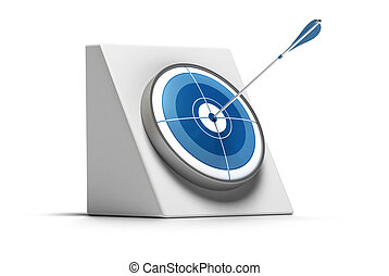 target and arrow hit the center of the circle - the dart is blue and the image is over a white background