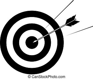 target and arrow illustration - Arrow striking centre of...