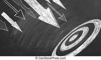 Many different arrows and target drawn in chalk on a blackboard. Concept of competition, strategy