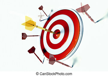 Target and Success - Numerous red darts missing the target...